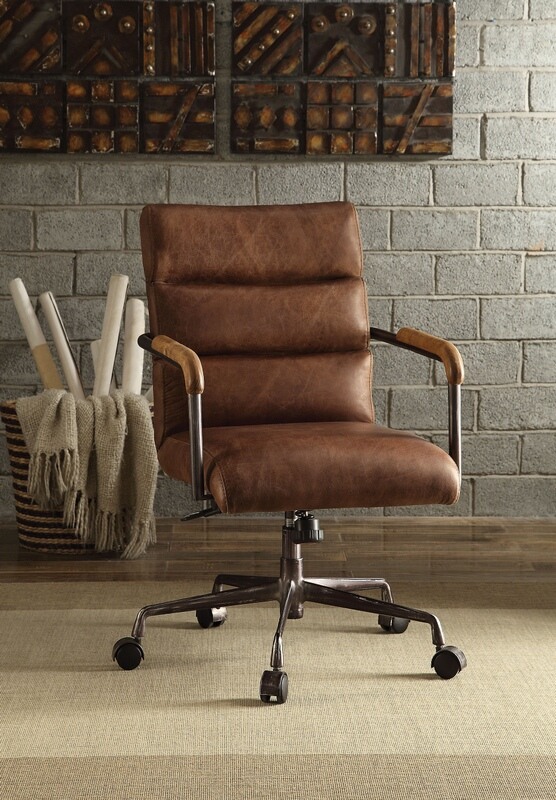 Acme 92414 Harith retro brown top grain leather office chair with lift and casters