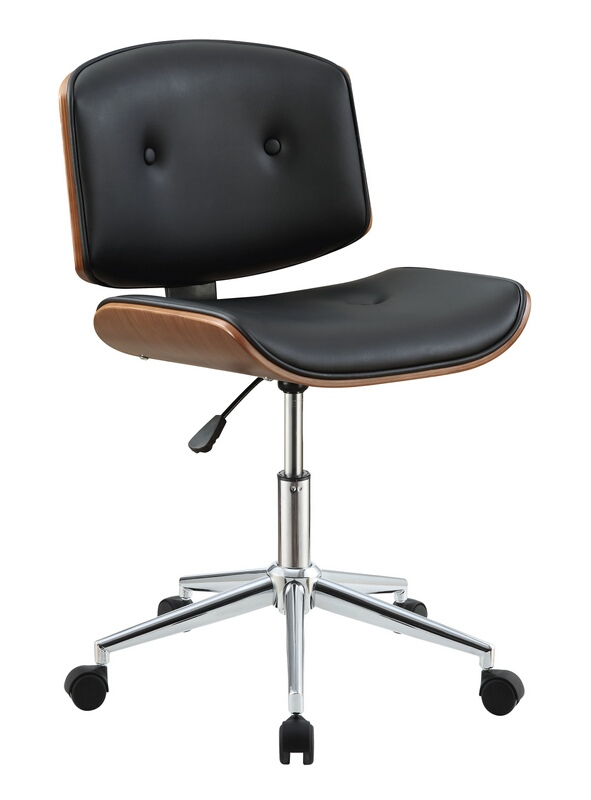 Acme 92418 Camila walnut finish wood and black vinyl office chair with lift and casters