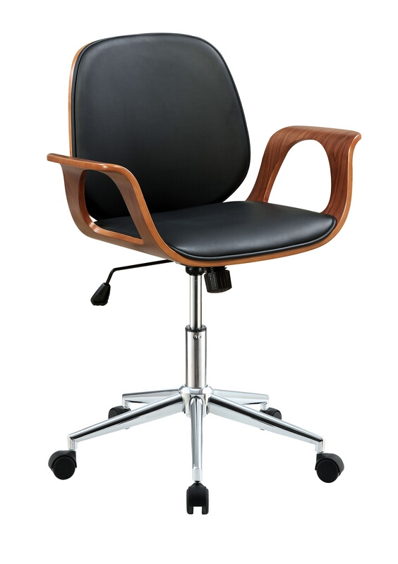 Acme 92419 Camila walnut finish wood black vinyl office chair with lift and casters