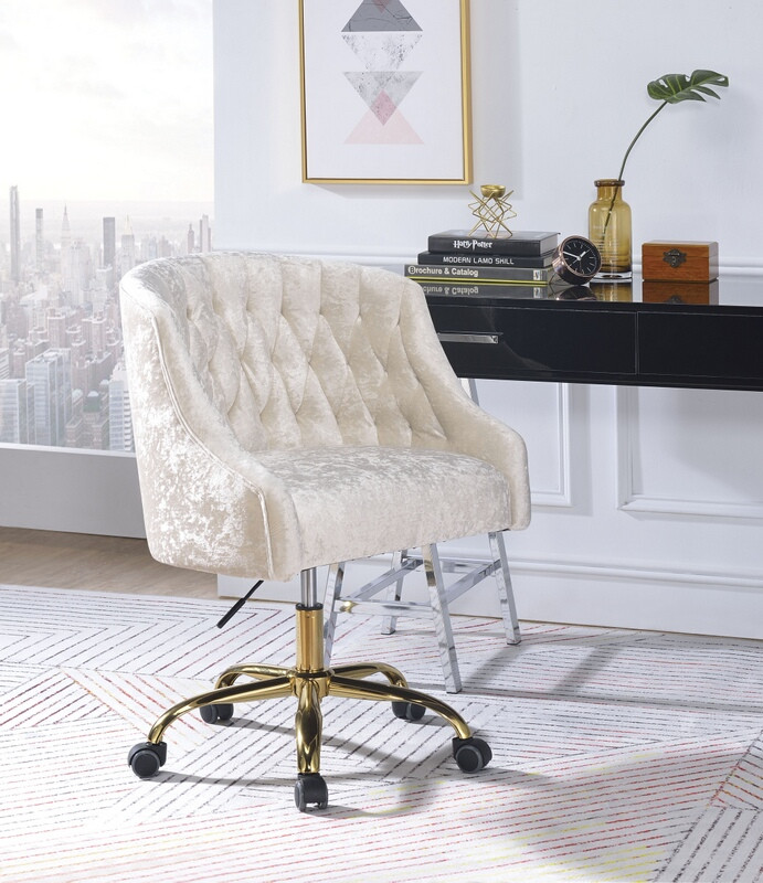 Acme 92517 Levian vintage cream velvet office chair with casters