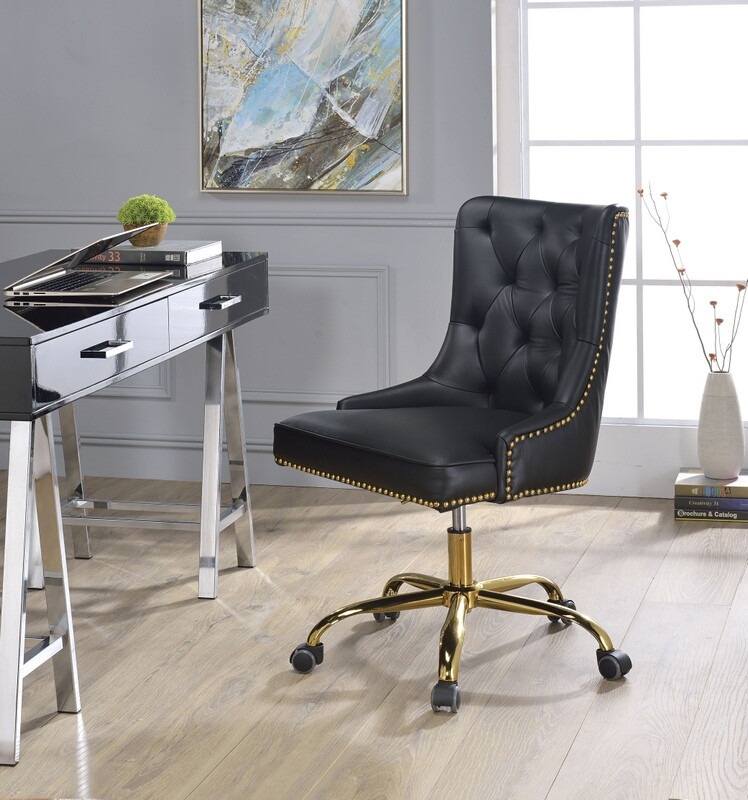 Acme 92518 Purlie black faux leather nail head trim office chair with casters