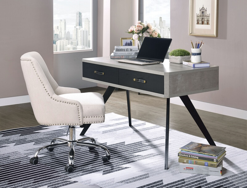 Acme 92530 Ivy bronx thibault magna faux concrete and black metal frame desk