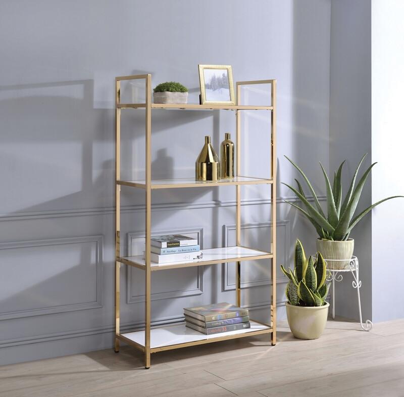Acme 92542 Everly quinn wilbert ottey white high gloss finish wood gold metal frame 4 tier book shelf