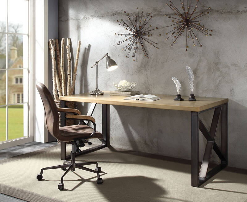 Acme 92550 Jennavieve gold aluminum metal frame executive desk