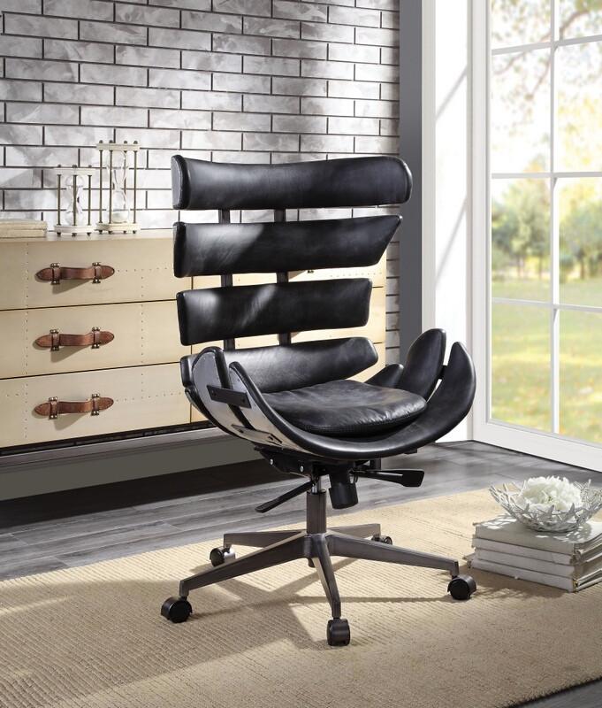Acme 92552 Megan vintage black top grain leather aluminum executive office chair