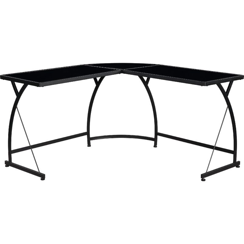 Acme 92590 Mercer 41 micah janison black glass and black finish metal frame corner desk