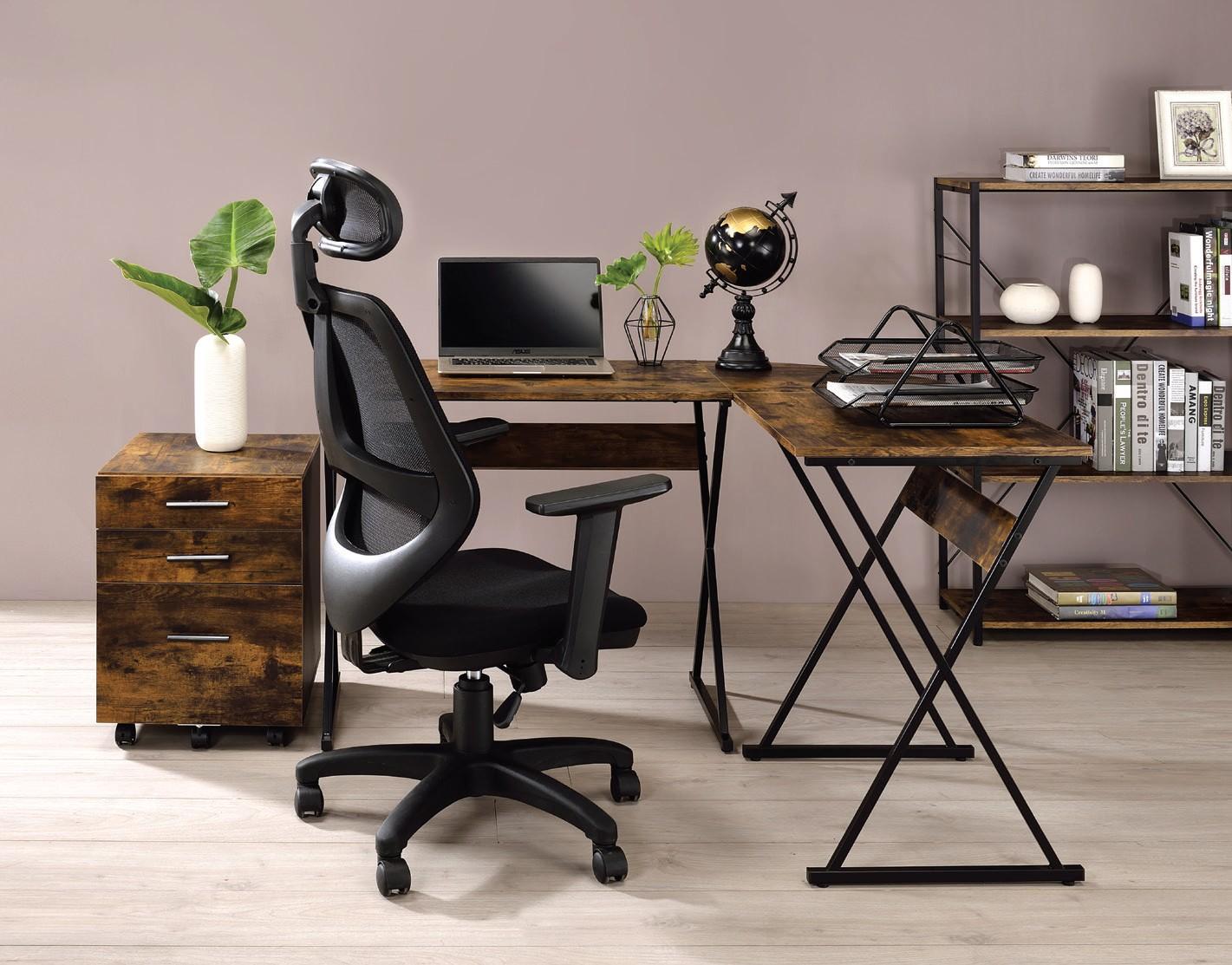 Acme 92810 Mercer 41 ballesteros zafari weathered oak wood and black metal frame corner desk