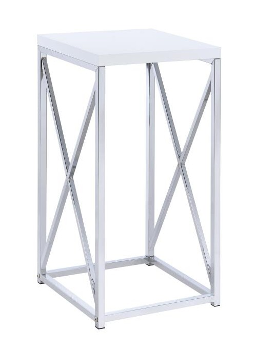 CST930014 Chrome metal frame and white finish wood top side accent table