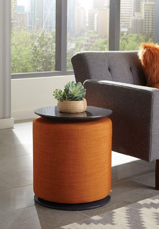 930092 Cozzy design sagovia orange fabric grey high gloss finish chair side table with ottoman