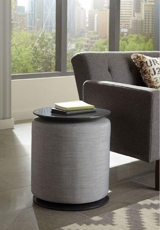 930093 Gray fabric grey high gloss finish chair side table with ottoman