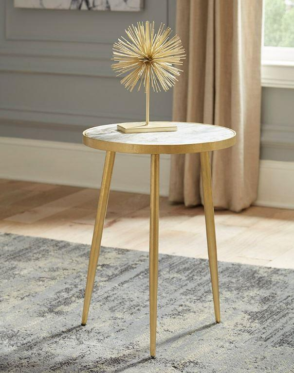 930060 White round marble top gold legs chair side end table