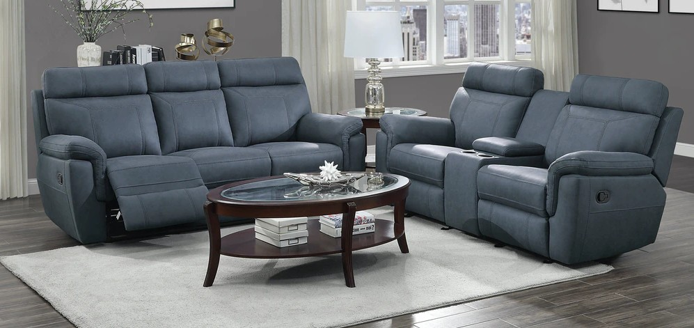Homelegance 9301BUE-2pc 2 pc Clifton blue polished microfiber double reclining sofa and love seat set