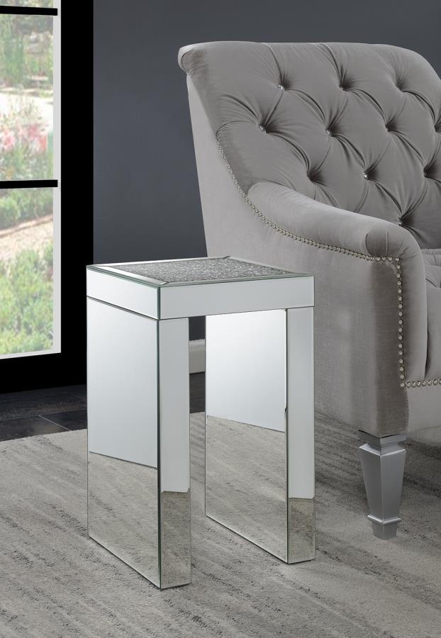 930207 House of hampton huerta mirrored chair side end table