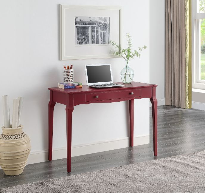 Acme 93020 Beachcrest home andrey alsen red finish wood student writing desk with drawer