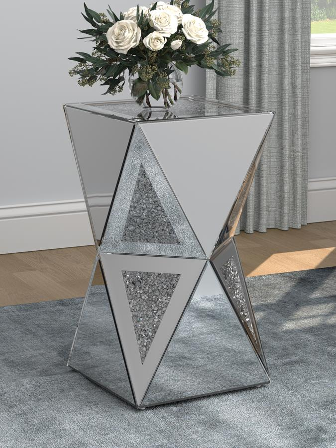 930216 Silver orchid accord silver mirrored geometric chair side end table