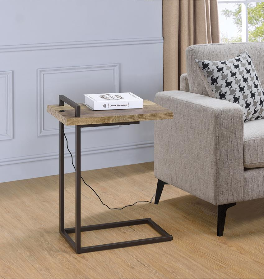 931126 Carbon loft corvalan weathered pine dark bronze metal finish chair side table with USB