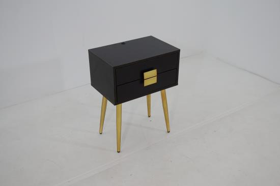 931195 Everly quinn leite espresso finish wood matte brass legs chair side table with legs
