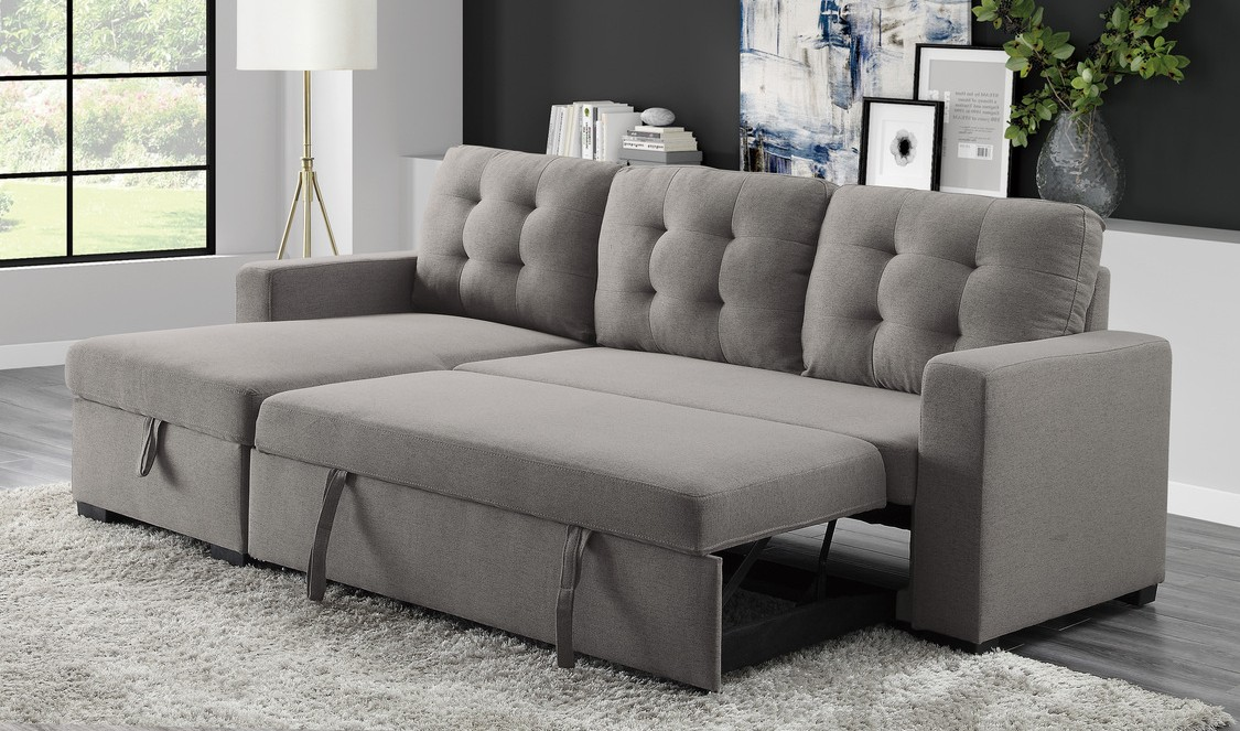 Homelegance 9314GY-SC 2 pc Cornish light gray textured fabric sectional sofa reversible storage chaise and pop up sleep area