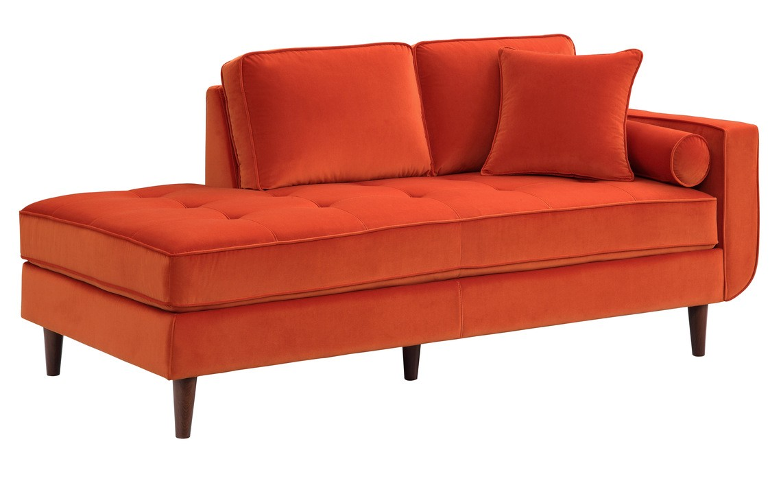 Homelegance 9329RN-5 Rand mid century modern orange velvet fabric chaise lounger with curved arm
