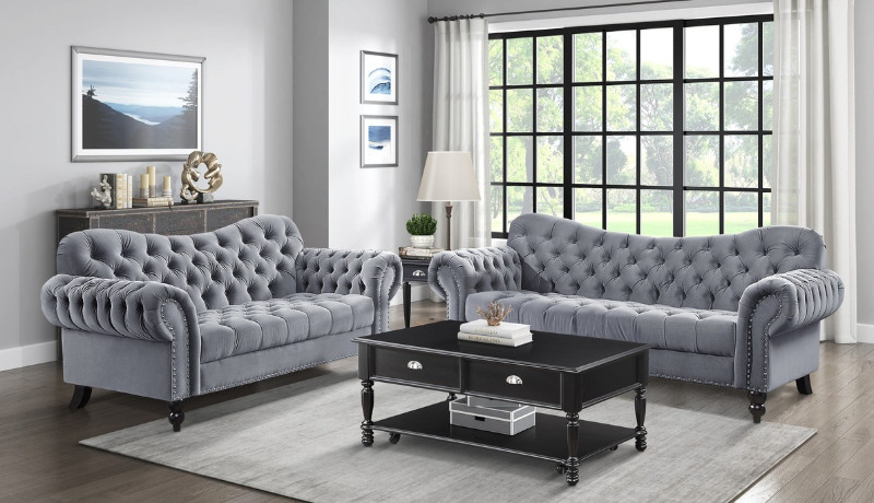 Homelegance 9330DG-2PC 2 pc Everly quinn rosalie tufted grey fabric sofa and love seat set