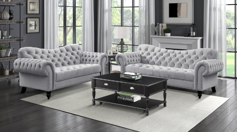 Homelegance 9330GY-2PC 2 pc Everly quinn rosalie tufted light grey fabric sofa and love seat set