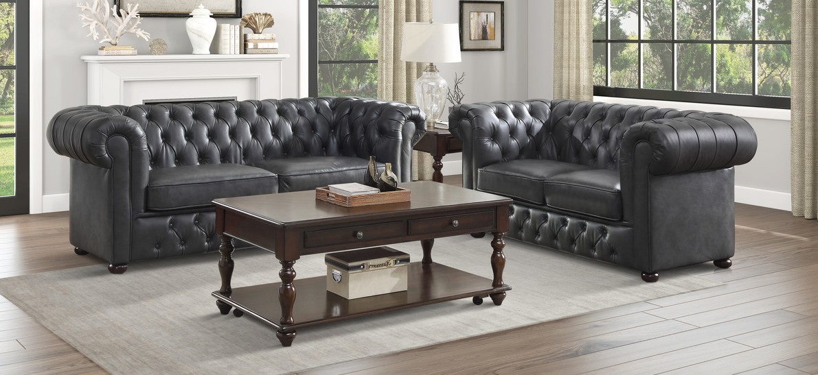 Homelegance 9335GRY-SL 2 pc Tiverton gray faux leather sofa and love seat set with tufted backs