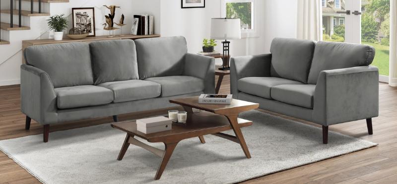 9338GY-2PC 2 pc Everly quinn bethelridge mid century grey fabric sofa and love seat set