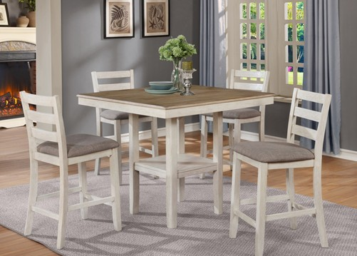 Asia Direct 9341 5 pc grey oak finish wood top and wire brushed white frame finish counter height dining table set