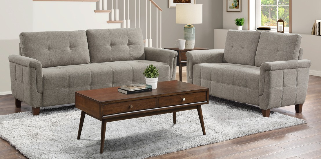 Homelegance 9344BR-2PC 2 pc Everly quinn Olcott brown textured fabric sofa and love seat set