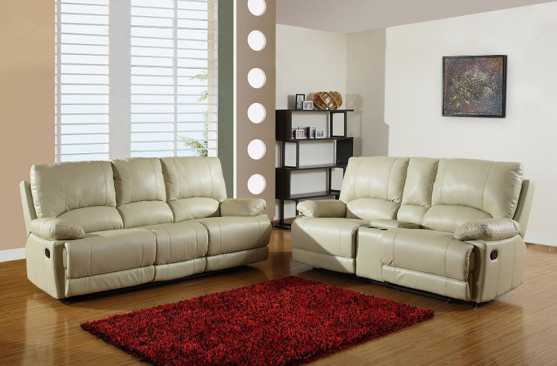 2 pc Ospray collection beige leather aire upholstered sofa and love seat with console with recliner ends