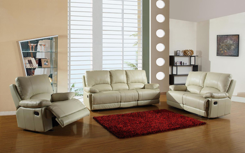 2 pc Ospray collection beige leather aire upholstered sofa and love seat with recliner ends