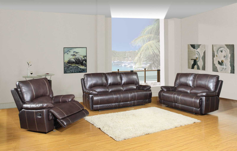 2 pc Ospray collection brown leather aire upholstered sofa and love seat with recliner ends