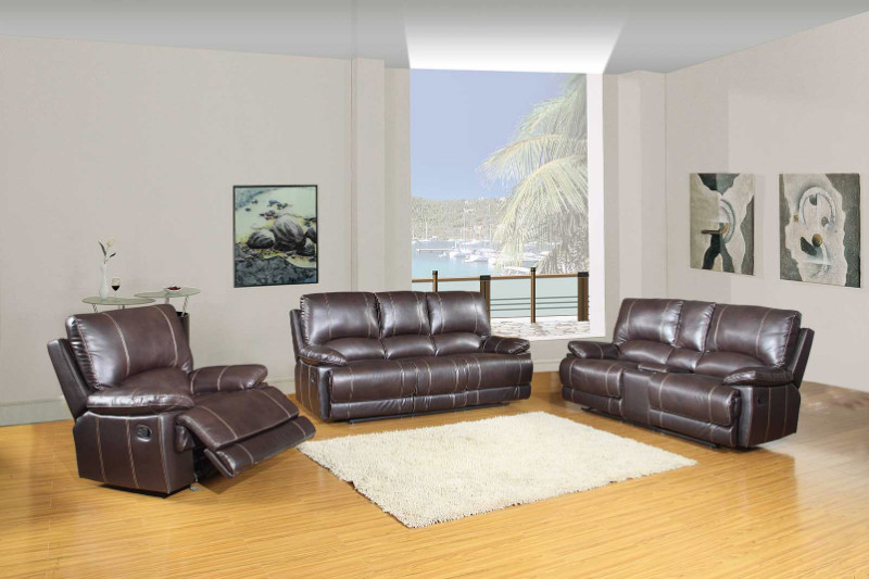 2 pc Ospray collection brown leather aire upholstered sofa and love seat with console with recliner ends