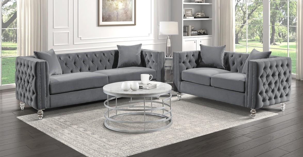 Homelegance 9349GRY-2PC 2 pc Waldorf park Galinda gray velvet like tufted fabric sofa and love seat set