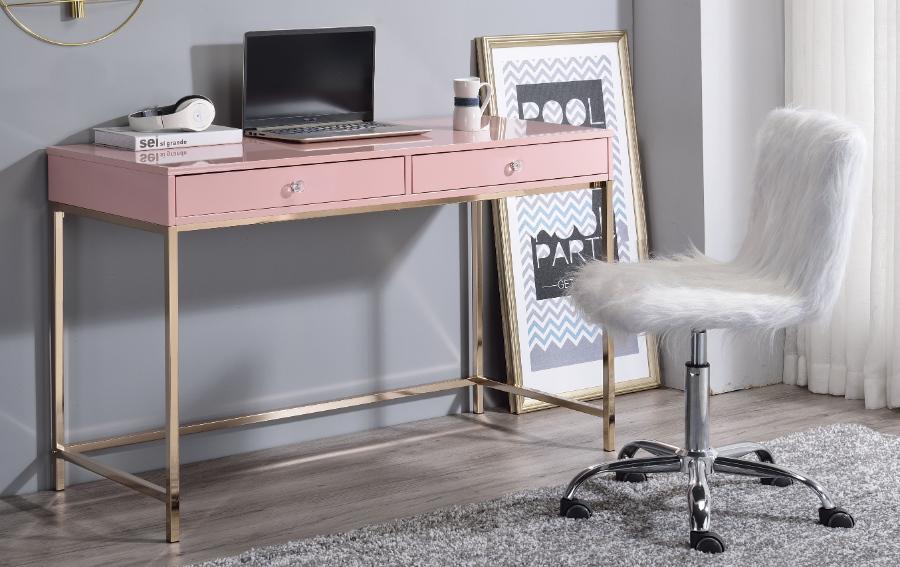 Acme 93545 Mercer 41 spada ottey pink high gloss finish wood gold metal frame desk