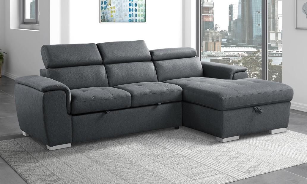 9355CC*22LRC Winston porter cadence III dark gray chenille fabric sectional sofa with storage chaise and sleep area