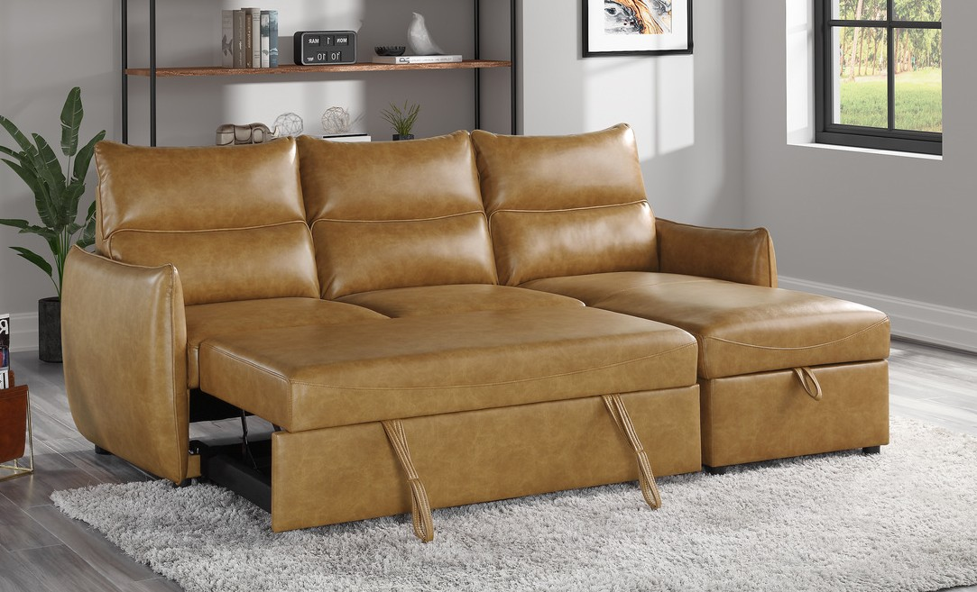 9358SD-SC 2 pc Winston porter Delara saddl brown faux leather reversible sectional sofa with storage chaise