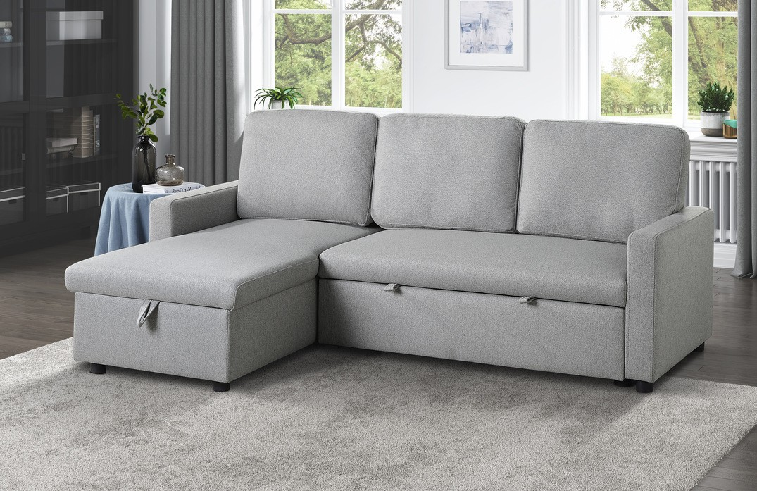 9359GRY-SC 2 pc Winston porter brandolyn light gray fabric reversible sectional sofa with storage chaise