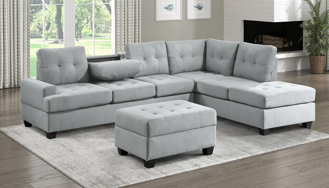 Homelegance 9367GY*SC 2 pc Wildon home fossil light gray textured fabric sectional sofa with reversible chaise drop down tray back
