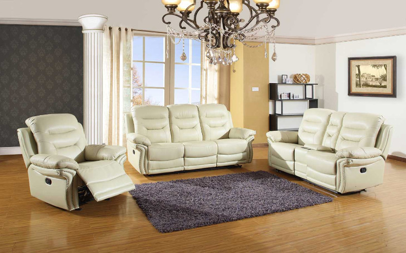 2 pc Parsons II collection beige leather aire upholstered sofa and love seat with console with recliner ends