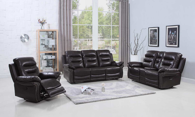 2 pc Parsons II collection brown leather aire upholstered sofa and love seat with console with recliner ends