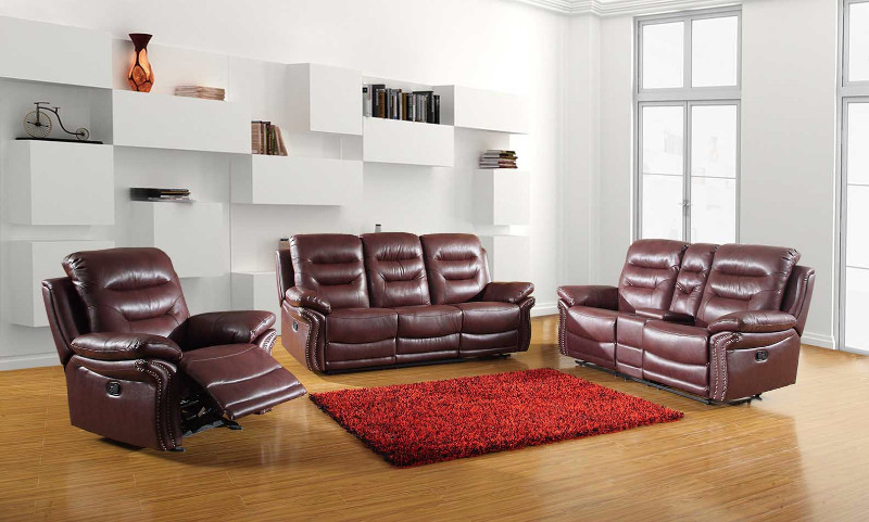 2 pc Parsons II collection burgundy leather aire upholstered sofa and love seat with console with recliner ends