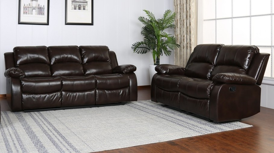 GU-9393BR-2PC 2 pc Red barrel studio brown leather aire sofa and love seat with recliner ends