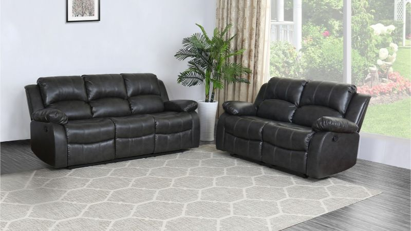 GU-9393DG-2PC 2 pc Red barrel studio grey leather aire sofa and love seat with recliner ends