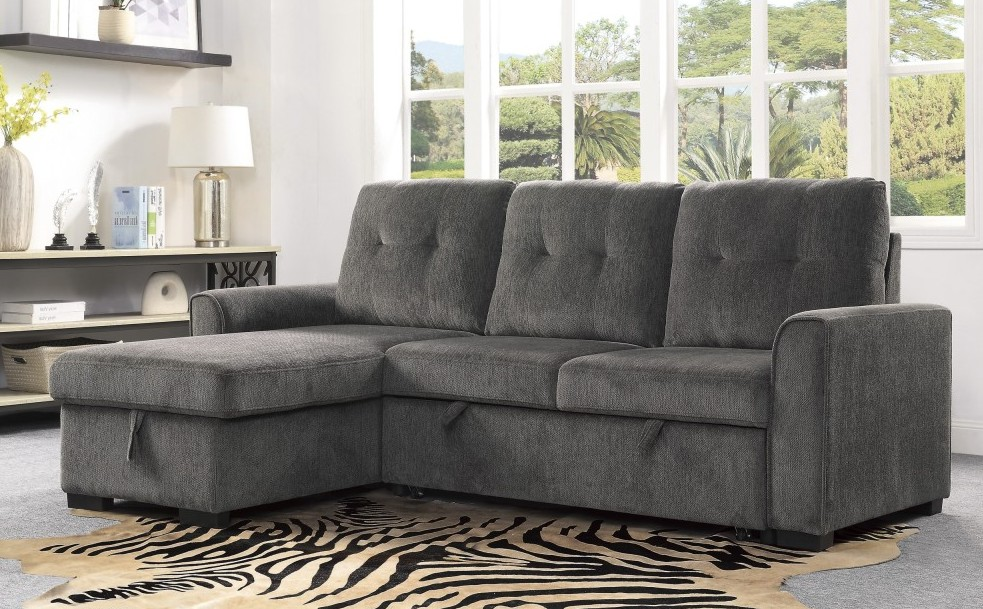 9402DGY*SC Winston porter cadence II dark gray fabric reversible sectional sofa with storage chaise