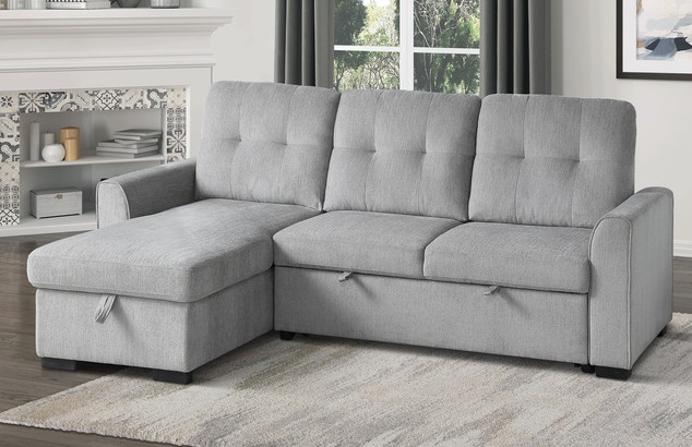 9402GRY*SC Winston porter cadence II gray fabric reversible sectional sofa with storage chaise