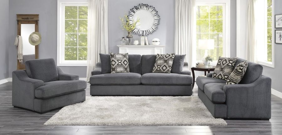 Homelegance 9404DG-2PC 2 pc Orofino dark gray fabric sofa and love seat set wide arms