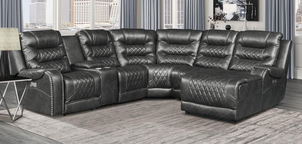 Homelegance 9405GY-6LRRC 6 pc Putnam gray polished microfiber sectional sofa with power recliners and chaise