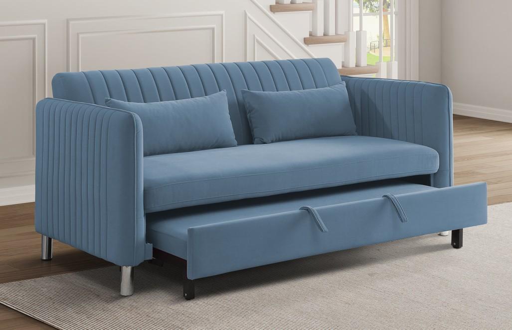 Homelegance 9406NBU-3CL Winston porter Strader blue velvet fabric sofa with pop up sleep area and fold down back
