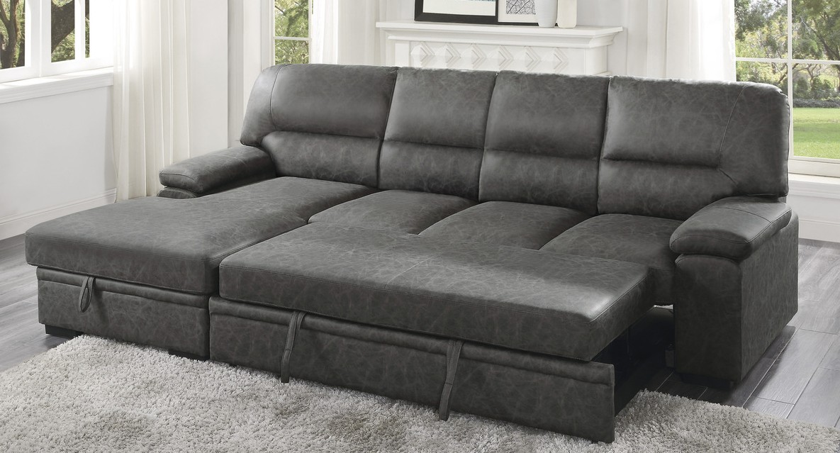Homelegance 9407DG-2LC3R 2 pc Michigan dark gray faux suede fabric sectional sofa with storage chaise